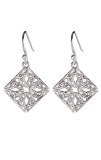 Cashs Ireland, Sterling Silver Trinity Knot Diamond Fishhook Pierced Earrings