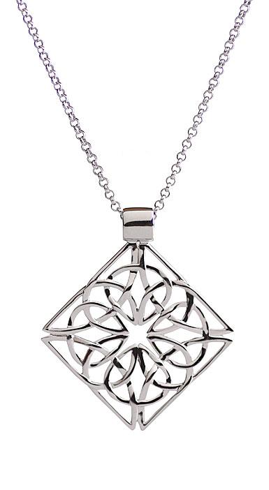 Cashs Ireland, Sterling Silver Trinity Knot Diamond Pendant Necklace