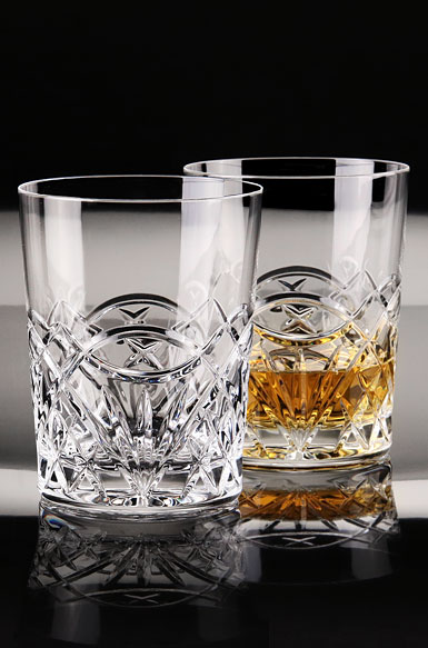 Cashs Ireland, Celtic Ring Crystal DOF Tumbler Single Malt Crystal Whiskey Glass, Pair