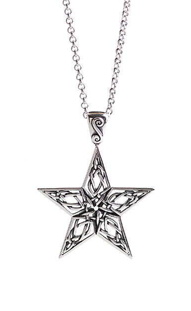 Cashs Ireland, Sterling Silver Celtic Star Pendant Necklace
