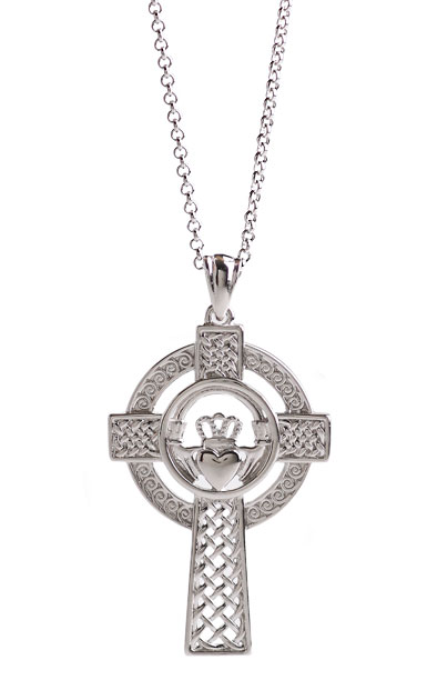 Cashs Ireland, Sterling Silver Claddagh Cross Pendant Necklace