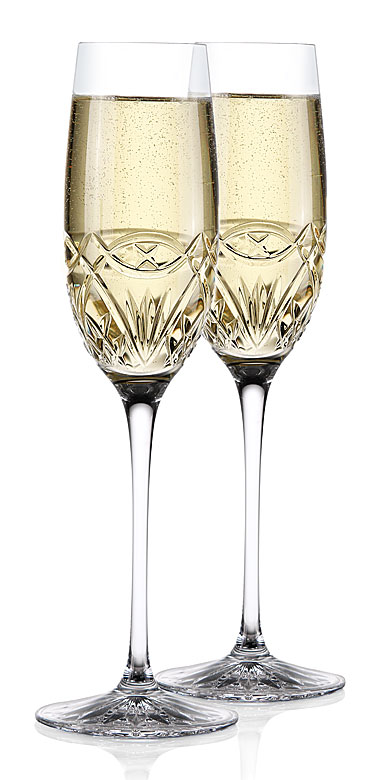 Cashs Ireland, Celtic Ring Celebration Toasting Crystal Flutes, Pair