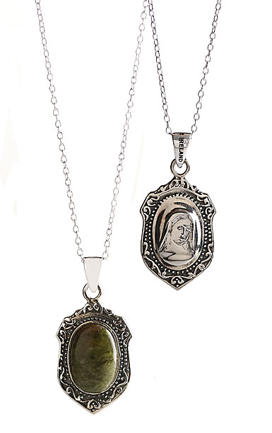 Cashs Ireland, Connemara Marble Sterling Silver Blessed Mary Necklace