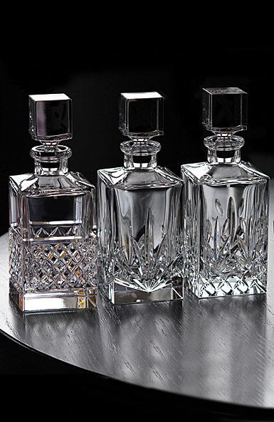 Cashs Ireland, Single Malt Whiskey Square Crystal Decanters, Set of Three
