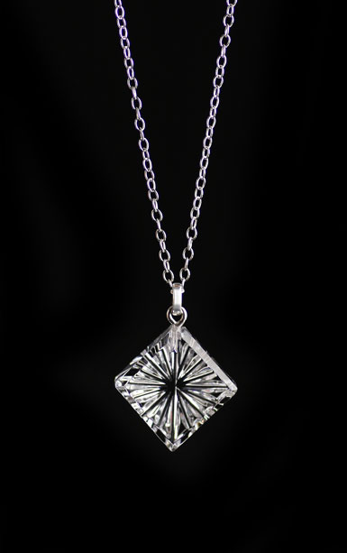 Cashs Ireland, Diamond Newgrange Pendant Crystal Necklace, Small