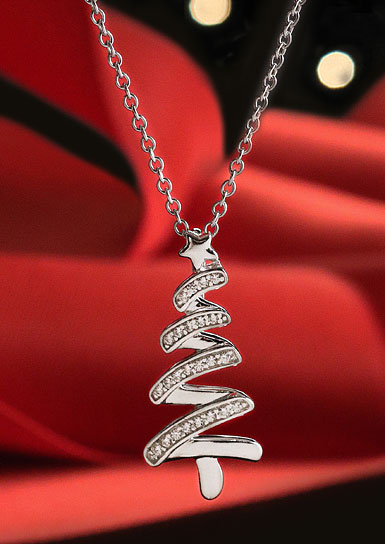 Cashs Ireland, Sterling Silver and Pave Festive Christmas Tree Pendant Necklace