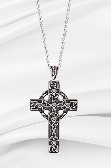 Cashs Ireland, Sterling Silver Filigree Irish Celtic Cross Pendant Necklace