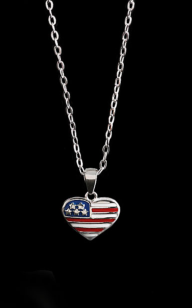 Cashs Ireland, Sterling Silver Brave Heart Flag Necklace
