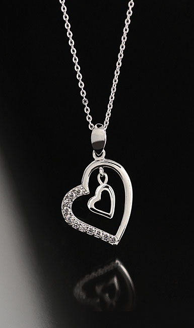 Cashs Ireland, Crystal Sterling Silver Heart to Heart Pave Pendant Necklace
