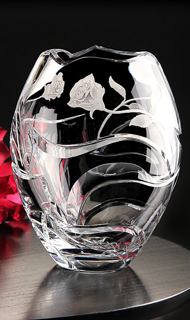 Cashs Ireland, Art Collection Irish Rose Crystal Vase, Limited Edition