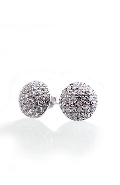 Cashs Ireland, Crystal Pave Sterling Silver Button Pierced Earrings, Pair