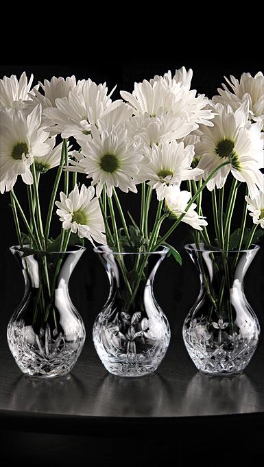 """Cashs Crystal Three Little Sisters, Set of Three 4 3/4"""" Vases"""