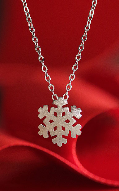 Cashs Ireland, Sterling Silver Modern Snowflake Pendant Necklace, Small
