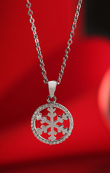 Cashs Ireland, Sterling Silver and Pave Circle Snowflake Pendant Necklace, Small