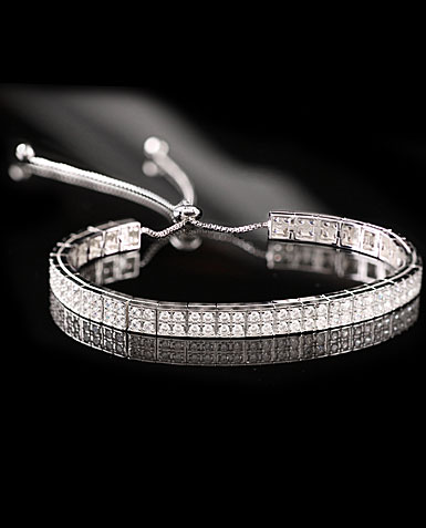 Cashs Ireland, Sterling Silver Crystal Pave Pull Up Adjustable Soft Bracelet