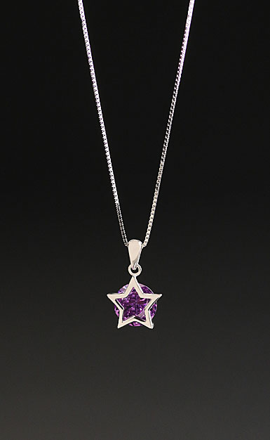 Cashs Ireland, Sterling Silver Purple Solitaire Star Pendant Necklace