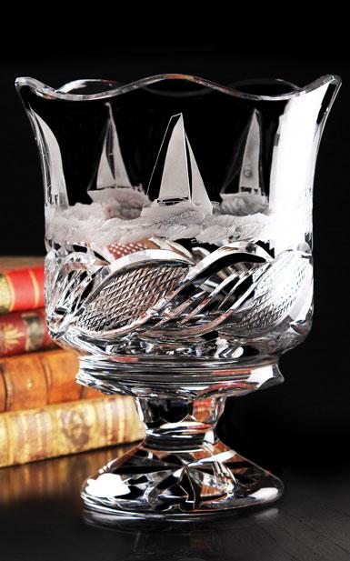 Cashs Ireland, Art Collection Sailing Series Regatta Crystal Vase, Limited Edition