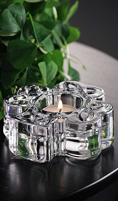 Cashs Ireland, Celtic Shamrock Crystal Votive, Large