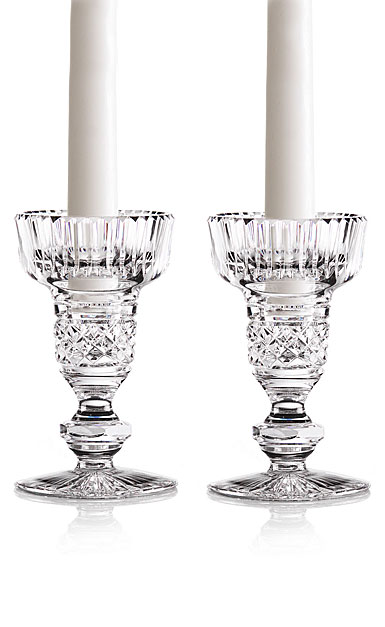 "Cashs Ireland, Cooper Single Knob 5"" Crystal Candlesticks, Pair"