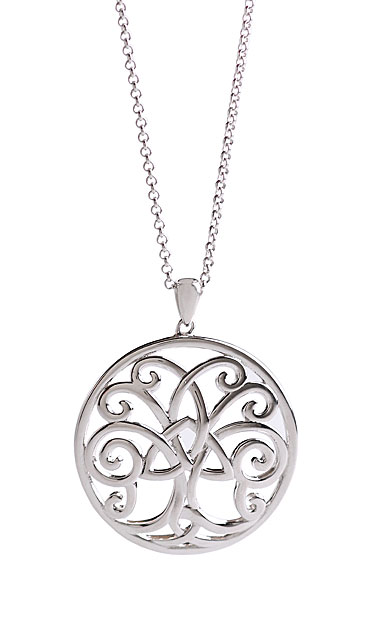 Cashs Ireland, Sterling Silver Tree of Life with Trinity Knot Pendant Necklace