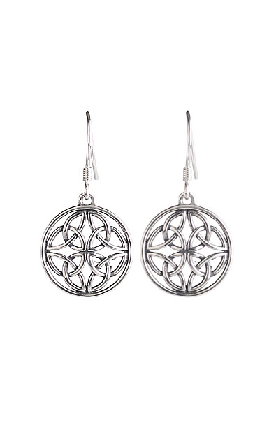 Cashs Ireland, Sterling Silver Celtic Trinity Knot Round French Hook Earrings, Pair