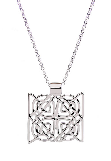 Cashs Ireland, Sterling Silver Trinity Knot Square Pendant Necklace