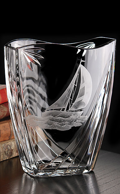 Cashs Ireland, Art Collection Sailing Series Windward Crystal Vase, Limited Edition