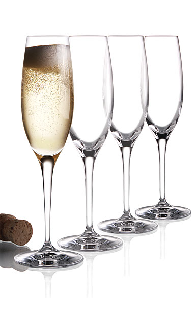 Cashs Ireland, Wine Cru Crystal Champagne Flutes, Set of 4