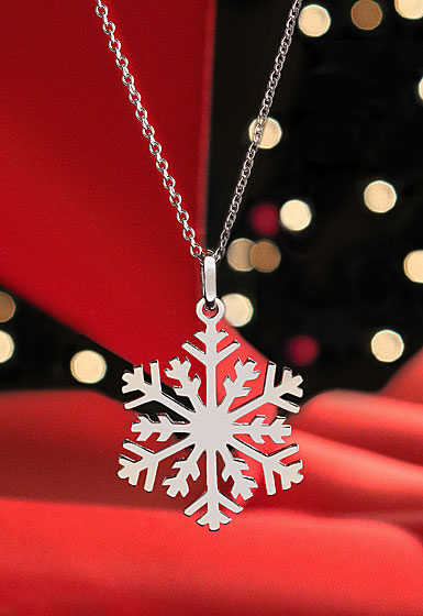 Cashs Ireland, Sterling Silver Winter Snowflake Pendant Necklace