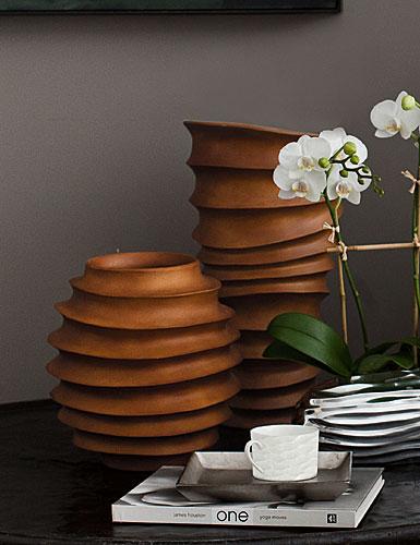 Lenox Donna Karan Hand Carved Wood, Rippled Round Vase