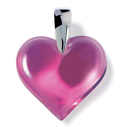 Lalique Heart Silver Fuchsia Necklace