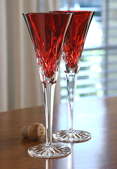 Waterford Crystal, Lismore Jewels Crimson Toasting Crystal Flutes, Pair