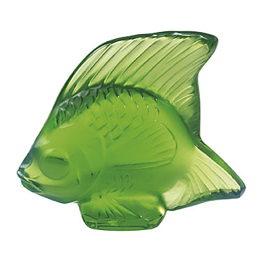 Lalique Crystal, Green Meadow Fish Sculpture