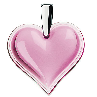 Lalique Heart Silver Pink Necklace, Large