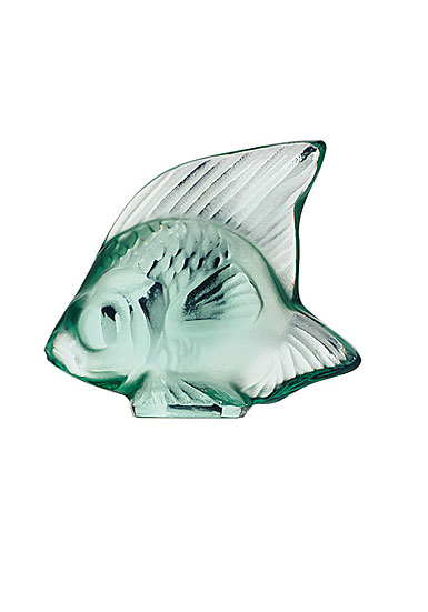 Lalique Crystal, Mint Green Fish Sculpture