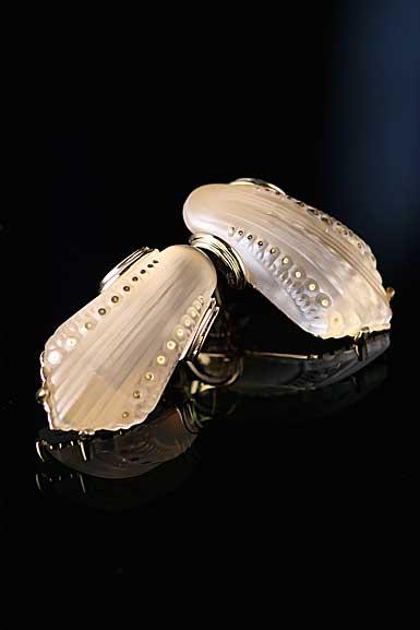 Lalique Icone Pierced Earrings, Vermeil