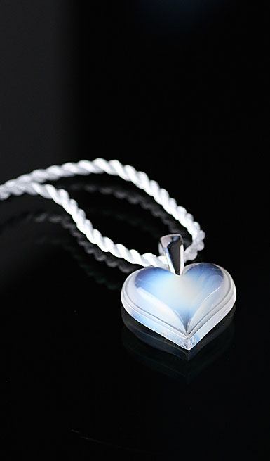 Lalique Heart Silver Opalescent Necklace, Large