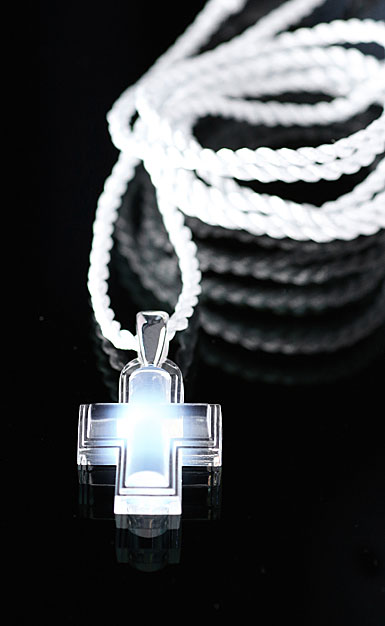 Lalique Opalescent Cross with Silver Clip Necklace