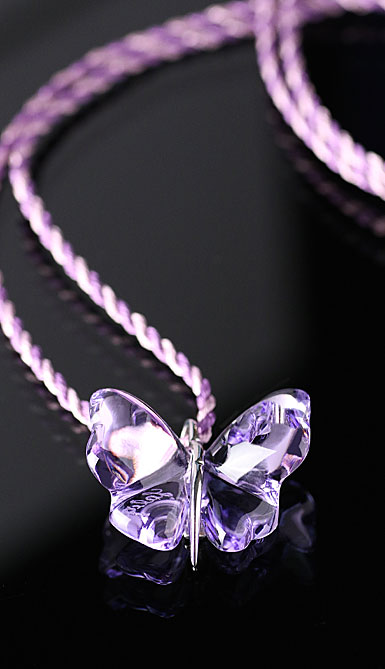 Lalique Papillon Silver Mauve Necklace
