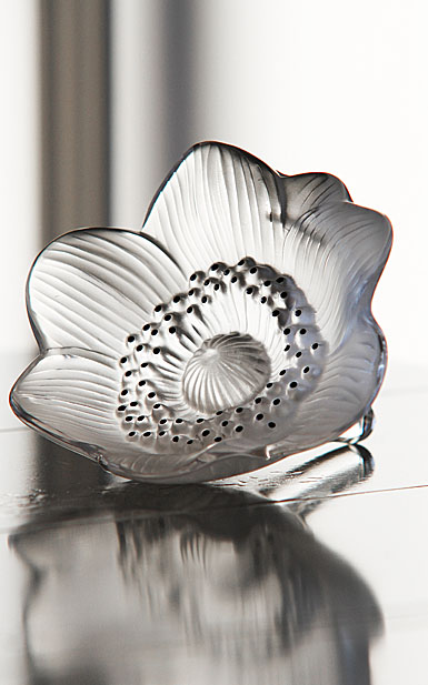 Lalique Crystal, Anemone Flower Sculpture, Clear with Black