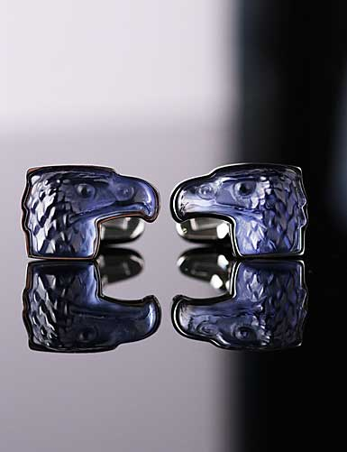 Lalique Eagle Cufflinks Crystal and Stainless Steel Pair, Blue