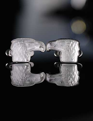 Lalique Eagle Cufflinks Crystal and Stainless Steel Pair, Clear