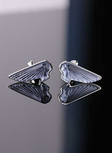 Lalique Victoire Crystal and Stainless Steel Cufflinks Pair, Blue