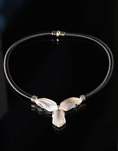 Lalique Crystal Icone Necklace, Gold Vermeil