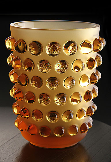 "Lalique Crystal, Mossi Amber 8 1/4"" Crystal Vase"