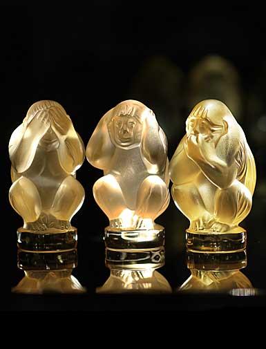 Lalique Wisdom Three Wise Monkeys, Golden Set