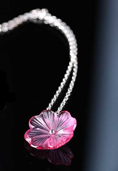 Lalique Pensee Fuchsia Pendentif, Argent