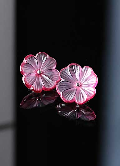 Lalique Pensee Fuchsia Earrings, Argent