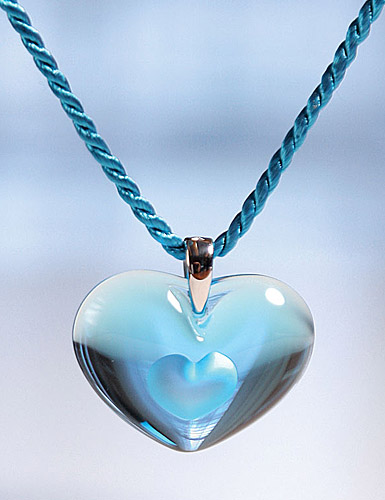 Lalique Tender Heart Silver Light Blue Necklace