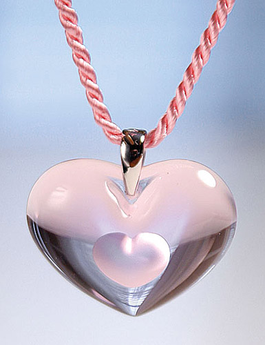 Lalique Tender Heart Silver Pink Necklace